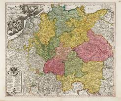 Map Central Europe by Imperium Romano Germanicum In Suos Circulos Homann Germany