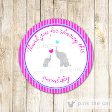 labels for party favors ipink stripes elephant baby shower thank you tags party labels