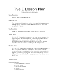 five e lesson plan mitosis review mitosis cell cycle