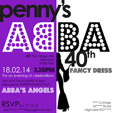 Invitation Cards For 40th Birthday Party Abba Themed Party Invitation