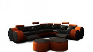 Modern Leather Sectional Sofas 3087 Modern Black And Orange Leather Sectional Sofa And Coffee Table