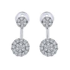 cluster stud earrings 14k diamond cluster stud earrings
