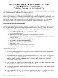 fire truck access plan requirements preliminary plan approval