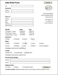 cake order cake order form template free sle order templates