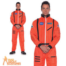 Astronaut Halloween Costume Adults Mens Teens Orange Sci Fi Nasa Astronaut Fancy Dress Party