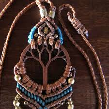 wood tree of life dream catcher necklace bohemian discovered