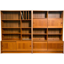 mid century danish modern teak wall units by domino mobler from