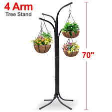 Hanging Plant Amazon Com Yaheetech Heavy Duty Arm Tree With 4 Hanging Baskets