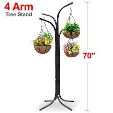 amazon com yaheetech heavy duty arm tree with 4 hanging baskets