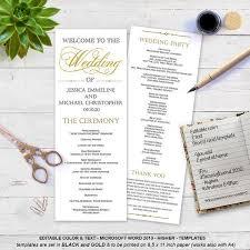 gold wedding programs best 25 wedding program templates ideas on fan