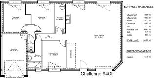 plan de maison plain pied 3 chambres avec garage modèle de maison de plain pied avec 3 chambres plus garage