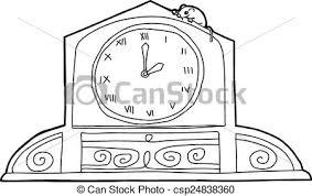 clip art vector clock roman numerals mouse outline
