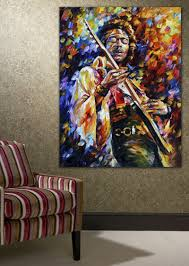100 handpainted palette knife painting jazz music guitarist soul