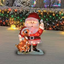 Lighted Santa And Reindeer Outdoor by 32