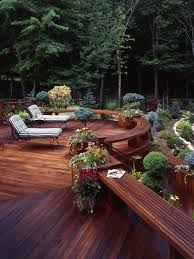 Decks With Benches Built In Exterior Design Traditional Wooden Deck And Built In Seating Ipe