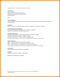 Resume For Students Sample sample resume for high school