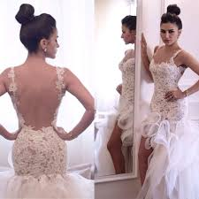 high low ruffle wedding dress open back spaghetti high slit sheer lace wedding dresses 2015