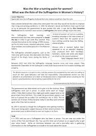 the suffragettes worksheet history