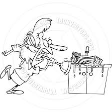 Cartoon Clogged Kitchen Sink Black And White Line Art By Ron - Kitchen sink is clogged