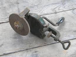 Old Bench Grinder Old Hand Crank Farm Work Bench Grinding Wheel For Old Sharpening Tools