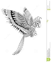 hand drawn artistically ornamental tribal parrot bird totem for