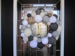 handmade winter yarn ball wreath holiday wreath yarn