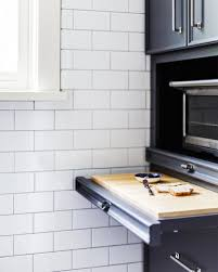 Toaster Oven Under Counter Under Counter Pull Out Cutting Board Transitional Kitchen