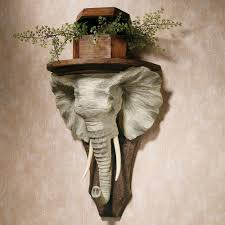 safari and african home decor touch class elephant wall shelf