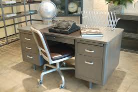 Metal Office Desk Refinished Vintage Steel Tanker Desk