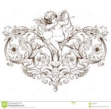 vintage decorative element engraving with baroque ornament pattern