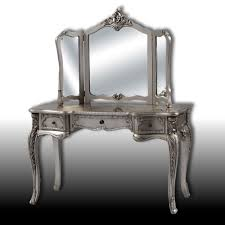Decorative Wall Mirror Sets Yvette Antique Silver Dressing Table And 3 Fold Mirror Set Table
