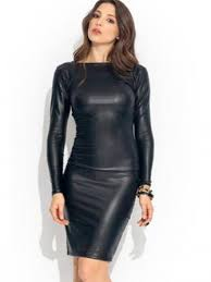 women bilateral long sleeve patent leather tight club dress