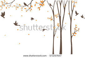 vector silhouette of trees and animals free vector