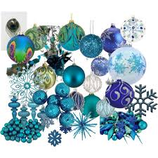 blue u0026 peacock christmas ornaments polyvore
