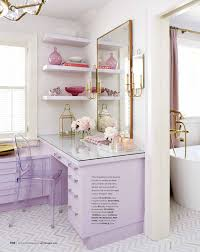 home design universal magazines tiffany leigh interior design lilac and gold built in vanity in