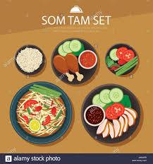 thai design papaya salad som tam thai food flat design stock vector art