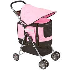 pink and black cars lucky dog pet stroller with removable carrier u0026 car seat