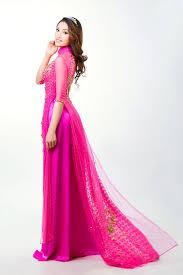 ao dam áo dài đám hỏi màu hồng duyên dáng cho nàng dâu việt