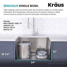 kitchen sink size for 24 inch cabinet kraus pax 24 inch 18 undermount single bowl stainless steel laundry and utility sink khu24l