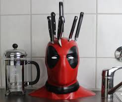 kitchen dazzling cool kitchen knife set deadpool block red knive