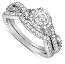 Infinity Wedding Rings by 2 Carat Round Diamond Infinity Wedding Ring Set In White Gold For