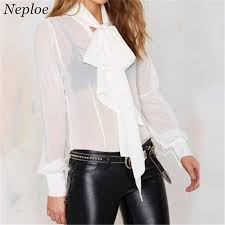 white bow blouse perspective bow shirt fashion shawl collar blouses