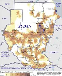 Map Of Sudan Distribution Of The Population In The Sudan The Stars Indicate