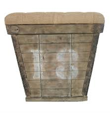 Country Ottomans Country Cube Storage Crate With Burlap Cushion Ottoman