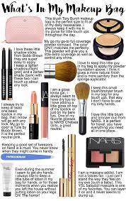 bag pact kabuki brush blush brush blush bronzer mascara lotion tweezers lipstick lip gloss eyeshadow stick