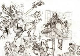 spiderman after trilogy action sketches pencil by