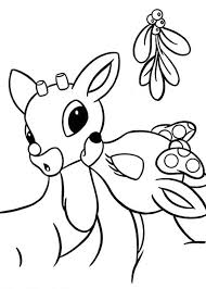 rudolph the red nosed reindeer coloring pages kissing coloringstar