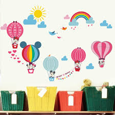 Nursery Stickers Mickey Minnie Mouse Air Balloon Wall Stickers Nursery Decal