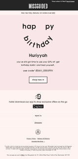 39 best birthday emails images on pinterest birthday email personalized birthday email from missguided with discount coupon code emailmarketing email marketing