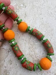 long orange necklace images Krobo necklace orange green necklace big bold african tribal JPG